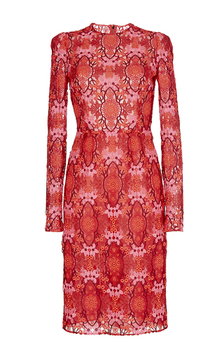 Red long sleeved macramé dress by DOLCE & GABBANA Now Available on Moda Operandi