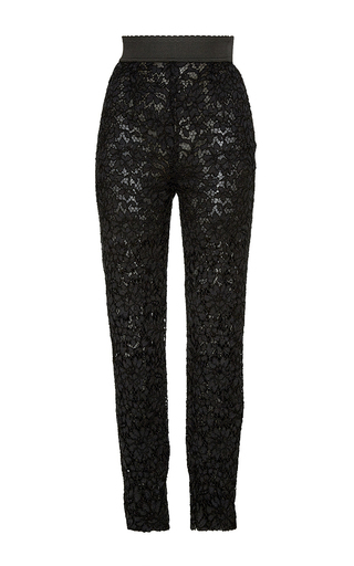 Black lace skinny tailored pants by DOLCE & GABBANA Now Available on Moda Operandi