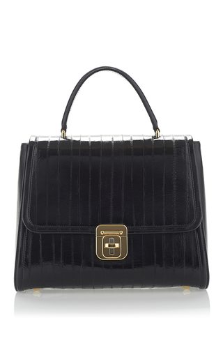 Eel and lamb leather large handle bag by DOLCE & GABBANA Now Available on Moda Operandi