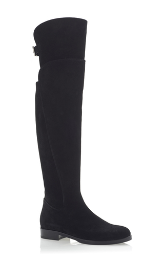 Suede over the knee back buckle boots  by DOLCE & GABBANA Now Available on Moda Operandi