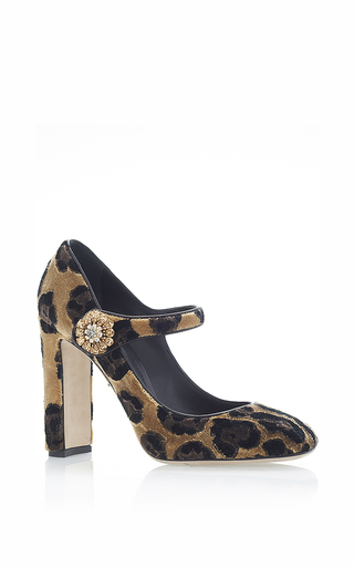 Leopard velvet mary janes by DOLCE & GABBANA Now Available on Moda Operandi