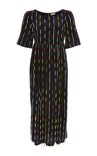 Multicolor beaded striped dress by SUNO Now Available on Moda Operandi
