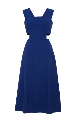 Blue wool sleeveless cutout dress by SUNO Now Available on Moda Operandi