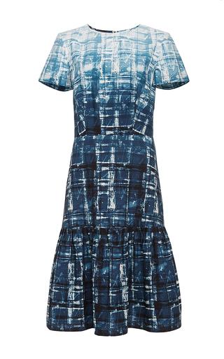 Blue printed cotton ruffled hem dress by SUNO Now Available on Moda Operandi