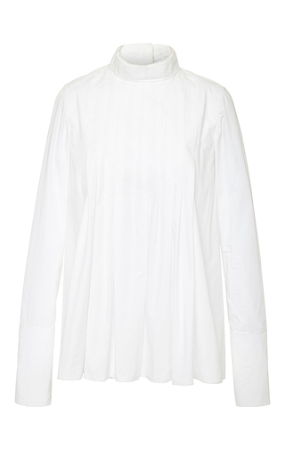 White cotton corean neck shirt by MARNI Now Available on Moda Operandi