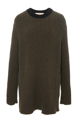 Virgin wool split back crew neck sweater  by MARNI Now Available on Moda Operandi