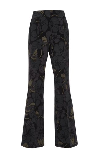 Dark green floral printed flared trousers by MARNI Now Available on Moda Operandi