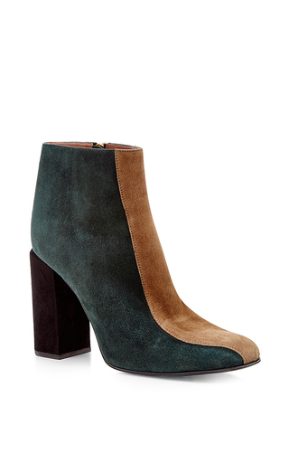 Teal and beige striped goat leather boots by MARNI Now Available on Moda Operandi