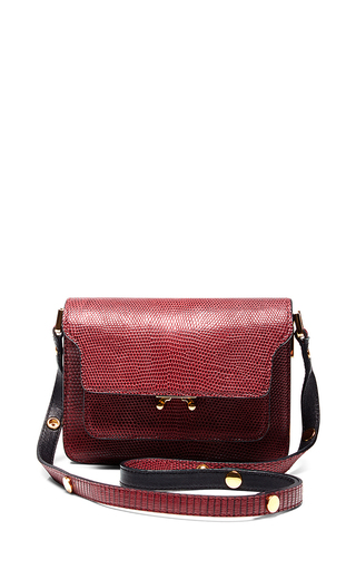 Burgundy lizard etched shoulder bag by MARNI Available Now on Moda Operandi