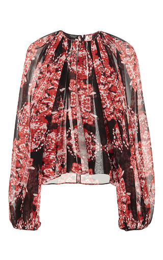 Red long sleeve printed blouse by GIAMBATTISTA VALLI Now Available on Moda Operandi