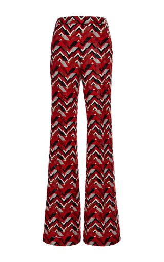 Red ricamo chevron wide leg pants by GIAMBATTISTA VALLI Now Available on Moda Operandi