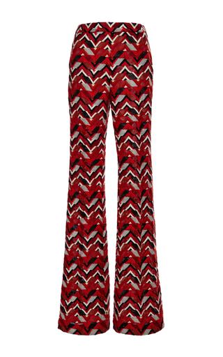 Red ricamo chevron wide leg pants by GIAMBATTISTA VALLI Now Available on Moda Operandi