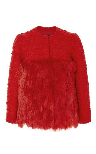 Red wool cashmere tweed jacket with fur bottom  by GIAMBATTISTA VALLI Now Available on Moda Operandi