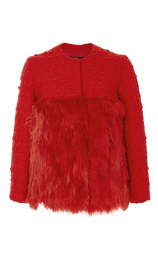 Red wool cashmere tweed jacket with fur bottom  by GIAMBATTISTA VALLI Now Available on Moda Operandi