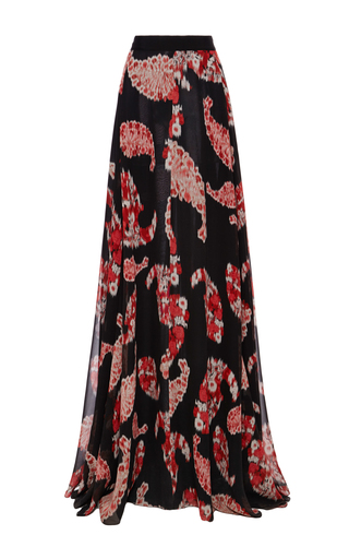 Black floral print flowy maxi skirt   by GIAMBATTISTA VALLI Now Available on Moda Operandi