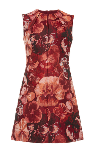 Red sleeveless jacquard mini dress  by GIAMBATTISTA VALLI Now Available on Moda Operandi