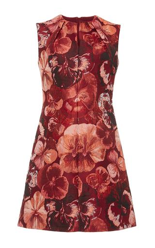 Red sleeveless jacquard mini dress  by GIAMBATTISTA VALLI Now Available on Moda Operandi