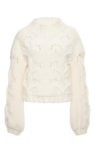 Ivory virgin wool turtleneck cableknit sweater by GIAMBA Now Available on Moda Operandi