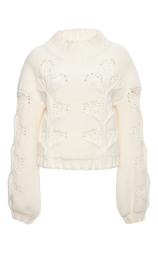 Ivory virgin wool turtleneck cableknit sweater by GIAMBA Now Available on Moda Operandi