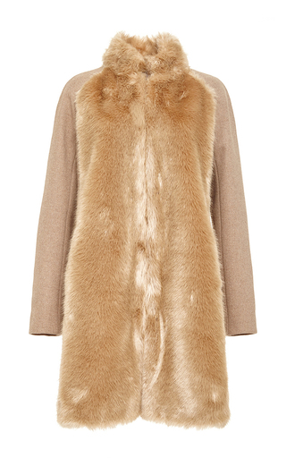 Tan Wool Blend Faux Fur Embellished Coat by GIAMBA Now Available on Moda Operandi
