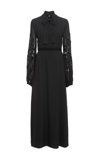 Black embellished tie neck maxi dress by GIAMBA Now Available on Moda Operandi