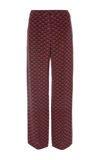 Penley scarab print wide leg silk trousers by MOTHER OF PEARL for Preorder on Moda Operandi
