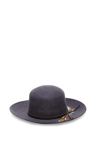Dark grey felted wool lauren hat with feathers by SENSI STUDIO Now Available on Moda Operandi
