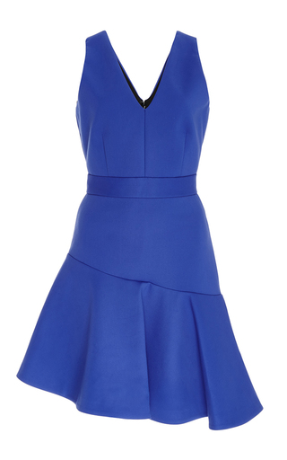 Blue asymmetrical ruffled hem dress  by MSGM Now Available on Moda Operandi