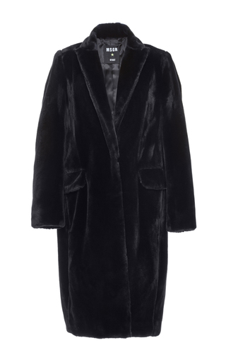 Navy cotton blend faux fur coat by MSGM Now Available on Moda Operandi