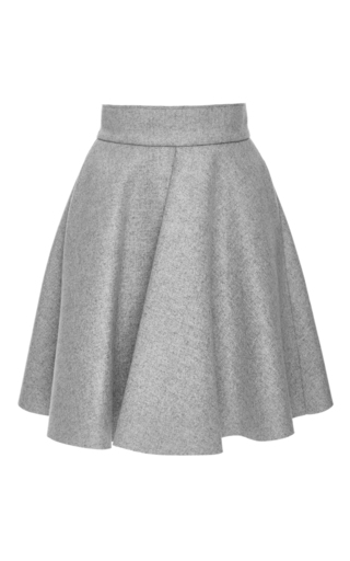 Grey wool blend pleated circle skirt  by MSGM Now Available on Moda Operandi