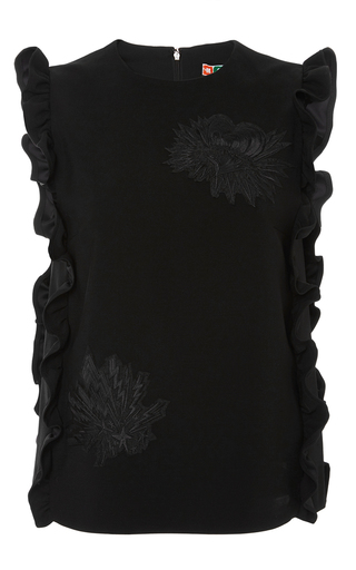Black sleeveless top with side ruffles by MSGM Now Available on Moda Operandi