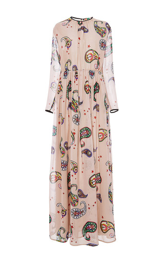 Silk paisley printed maxi dress  by MSGM Now Available on Moda Operandi