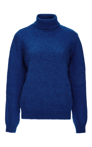 Blue wool blend turtleneck sweater  by MSGM Now Available on Moda Operandi