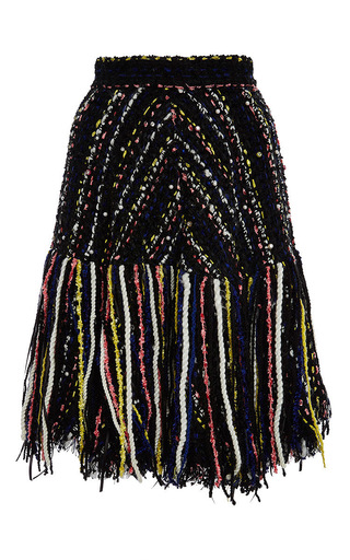 Multicolored tweed fringed skirt by MSGM Now Available on Moda Operandi