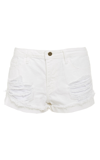 White le grand garcon destroyed shorts  by FRAME DENIM Now Available on Moda Operandi
