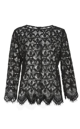 Le cropped black lace shirt  by FRAME DENIM Now Available on Moda Operandi