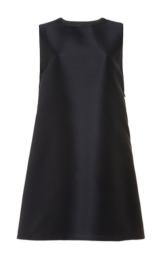 Navy silk wool a-line back zipper dress by HARVEY FAIRCLOTH Now Available on Moda Operandi
