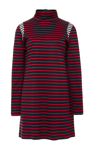 Red Striped Mock Neck Mini Dress by HARVEY FAIRCLOTH Now Available on Moda Operandi