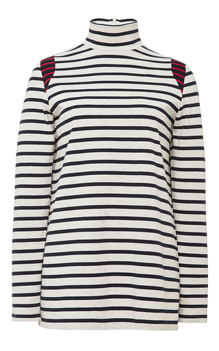 Ivory Cotton Long Sleeved Mock Neck Top by HARVEY FAIRCLOTH Now Available on Moda Operandi