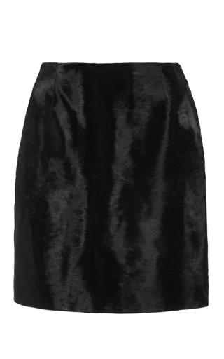 Black Pony Hair High Waisted Mini Skirt by HARVEY FAIRCLOTH Now Available on Moda Operandi