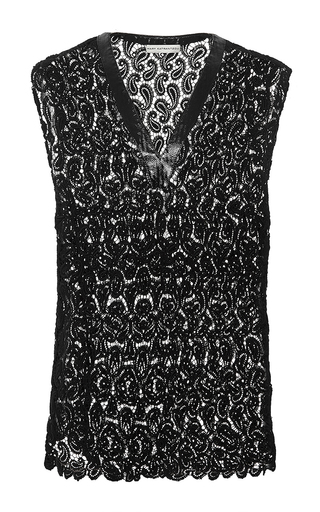 Sleeveless filo paisley lace top by MARY KATRANTZOU Now Available on Moda Operandi