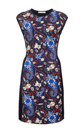 Lanark printed wool cap sleeve dress by MARY KATRANTZOU Now Available on Moda Operandi