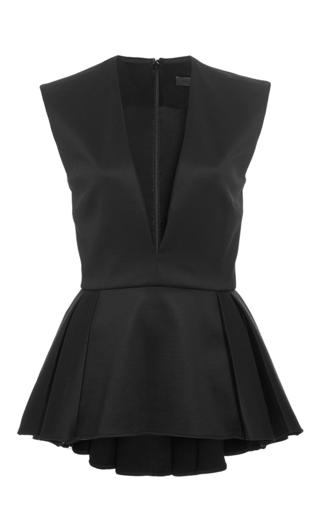Black sleeveless deep v top  by CUSHNIE ET OCHS Available Now on Moda Operandi