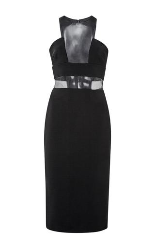 Black sleeveless midi dress with sheer insets by CUSHNIE ET OCHS Available Now on Moda Operandi