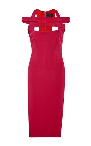 Red fitted dress with off-the-shoulder straps  by CUSHNIE ET OCHS Available Now on Moda Operandi