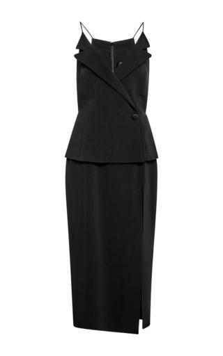 Black side slit midi dress by CUSHNIE ET OCHS Now Available on Moda Operandi