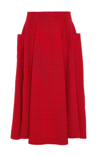 Red Wool Check A Line Midi Skirt by J.W. ANDERSON Now Available on Moda Operandi