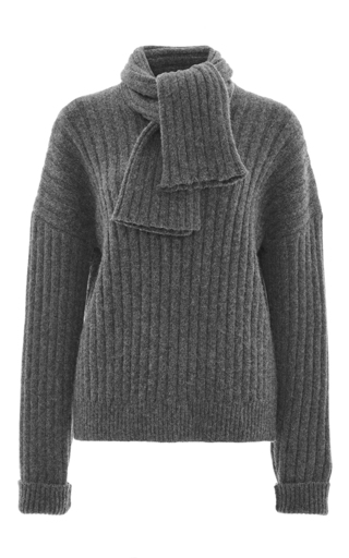 Wool alpaca chunky sweater with scarf by J.W. ANDERSON Now Available on Moda Operandi