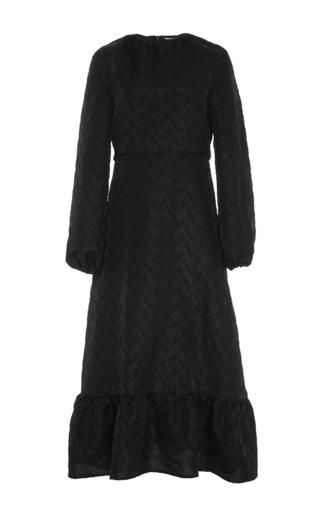 Black wool blend long sleeved midi dress by J.W. ANDERSON Now Available on Moda Operandi
