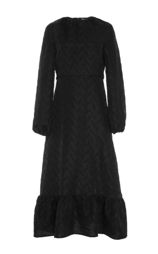 Black wool blend long sleeved midi dress by J.W. ANDERSON Now Available on Moda Operandi